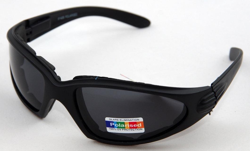 Polarised matt black frame cushioned wrap around sunglasses