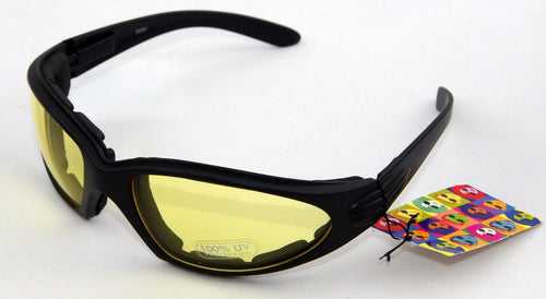 Yellow lens, low light lense. Matt black frame cushioned wrap around sunglasses
