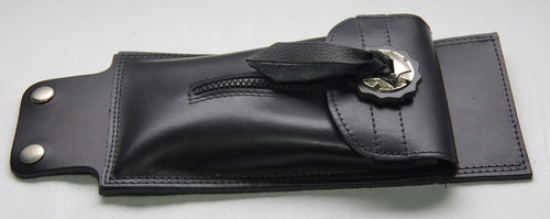 Tank pouch with zip front and nickle plated conchoe.