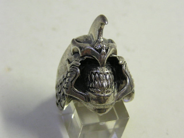 Sterling silver (925) mens Gladiator Skull ring #1116