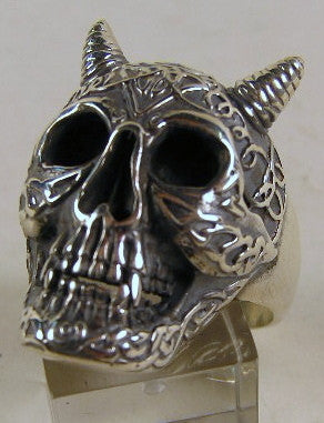 Sterling silver (925) mens Horned Celtic Skull ring #1092