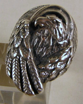 Sterling silver (925) mens Eagle ring #682