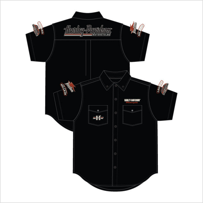 Harley-Davidson Freedom Pitt Crew, dress shirt, twin button pockets, short sleeve