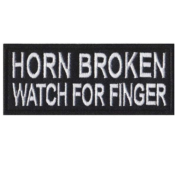 Horn broken watch for finger. 100mm embroidered patch