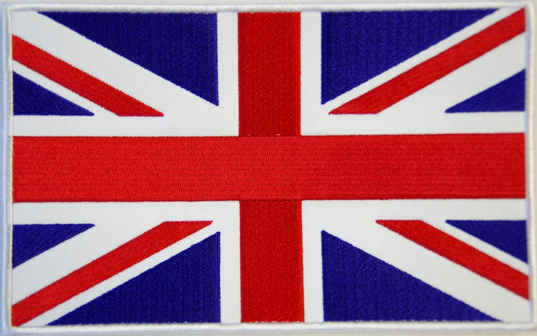 British flag, Union Jack. 200mm wide x 130 high embroidered patch