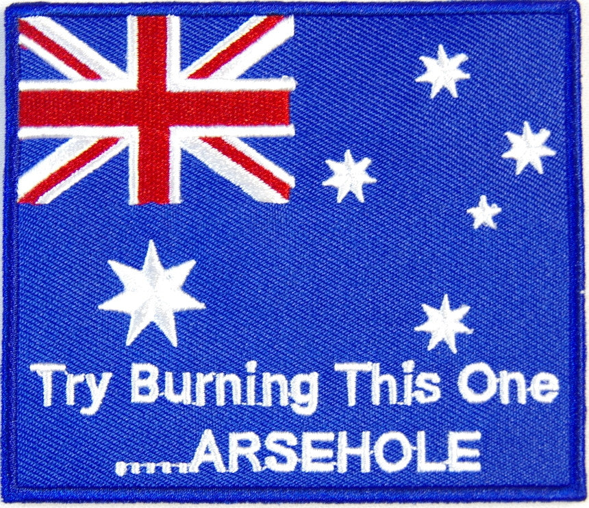 Australian flag, Try burning this one arsehole. 100mm wide x 80mm embroided patch