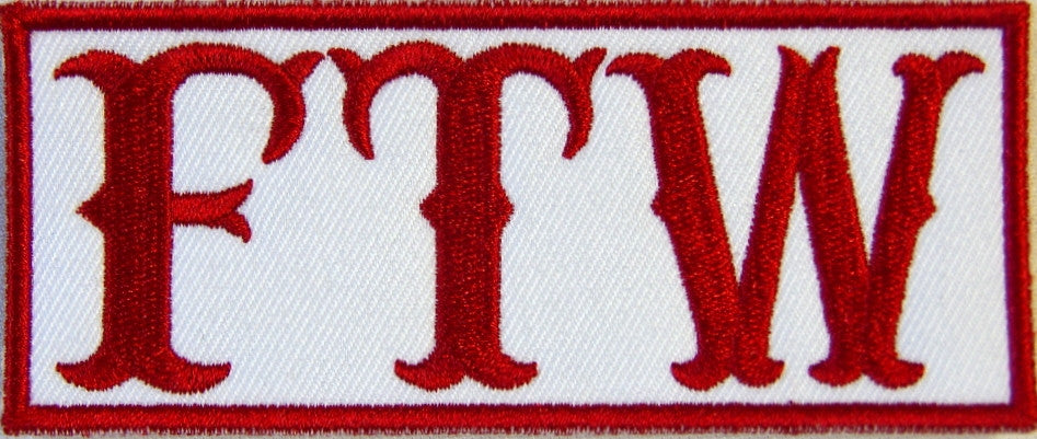 FTW, Forever Two Wheels. 100mm wide embroided patch