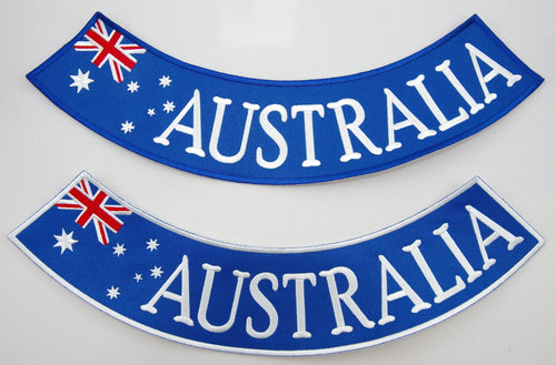 Australia rocker. 365mm wide embroided patch