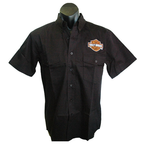 Harley-Davidson Flaming Eagle dress shirt, twin button pockets, short sleeve