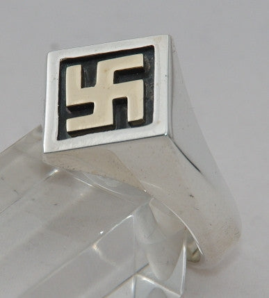 Sterling silver swastika ring with 9 ct gold swastika.  Mens ring #1137