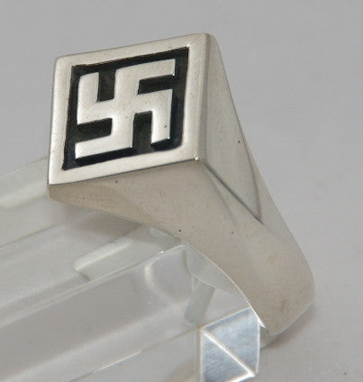 Sterling silver swastika ring. Mens ring #1174