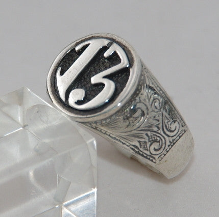 Sterling silver 13 mens cygnet ring.  Mens ring #1146