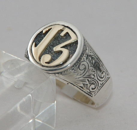 Sterling silver 13 cygnet ring with 9 ct gold 13.  Mens ring #1118