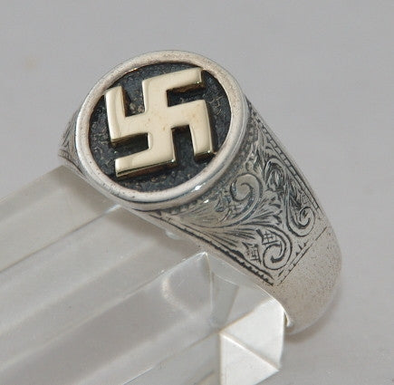 Sterling silver swastika cygnet ring with 9 ct gold swastika.  Mens ring #1102