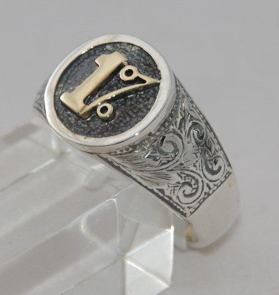 Sterling silver 1% cygnet ring with 9 ct gold 1%.  Mens ring #1106