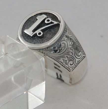 Sterling silver 1% mens cygnet ring.  Mens ring #1173