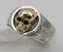 Sterling silver cygnet ring with 9 ct gold skull.  Mens ring #1171