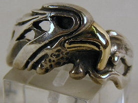 Sterling silver eagle ring with 9 ct gold beak.  Mens ring #540/925/9ct