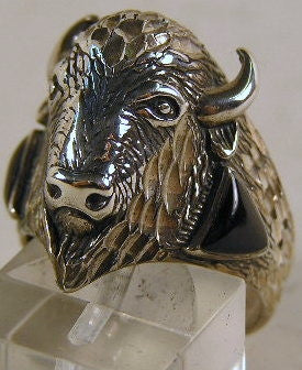 Sterling silver mens Buffalo Head ring #R222