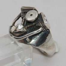 Sterling silver large Evolution motor ring.  Mens ring #378