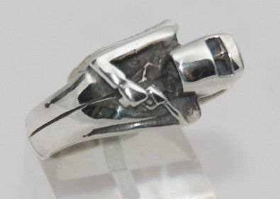 Sterling silver Ned Kelly. Mens ring #542