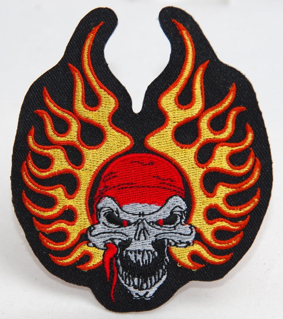 Skull with flames. 85 mm wide x 100 mm high embroided patch