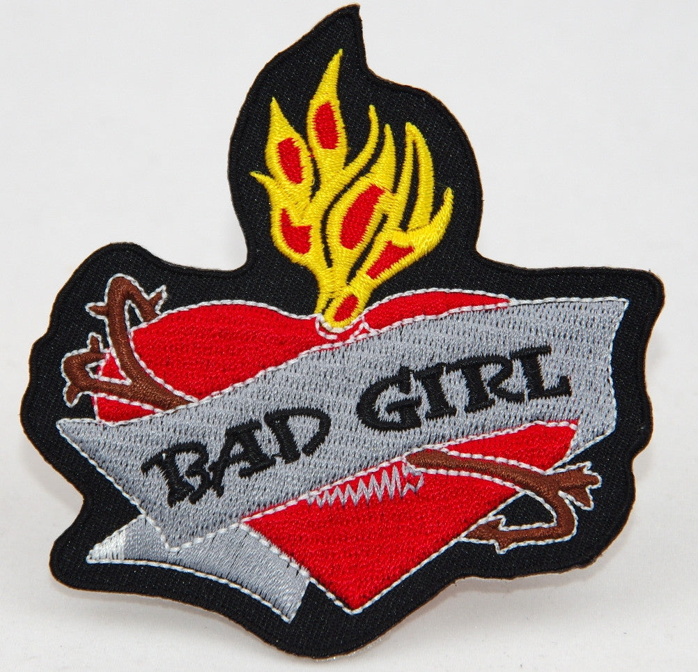 Bad Girl. 90 mm wide x 95 mm high embroided patch P-081