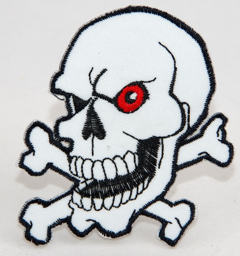 Skull and Cross bones.  70 mm wide x 75 mm high embroided patch P-022