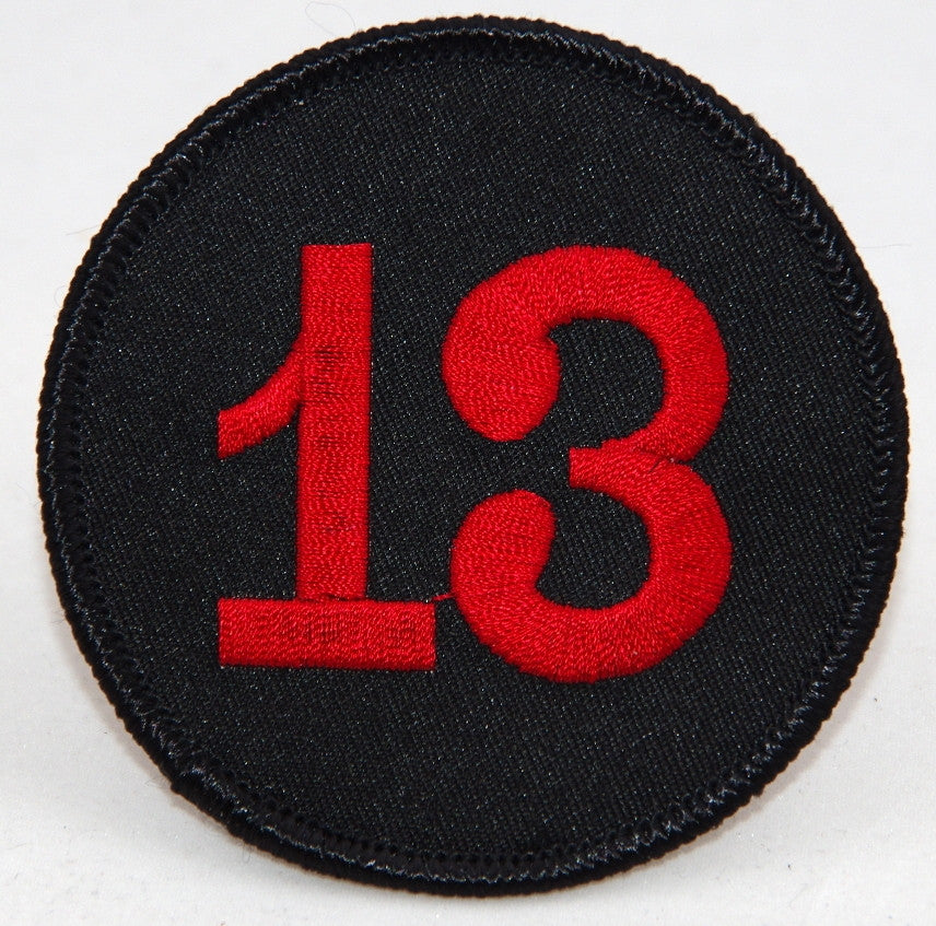 13 disc. 75 mm diameter embroided patch P-014