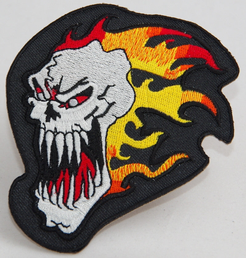 Skull with flames.  90 mm wide x 90 mm high embroided patch P-075