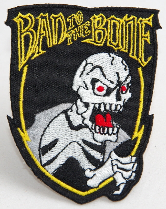Bad to the Bone.  70 mm wide x 90 mm high embroided patch P-083