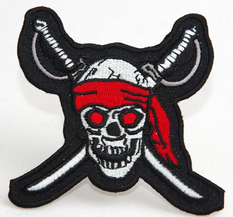 Skull with crossed swords.  85 mm wide x 80 mm high embroided patch P-135