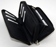 Ladies zip up purse, black leather. #Lucy-01