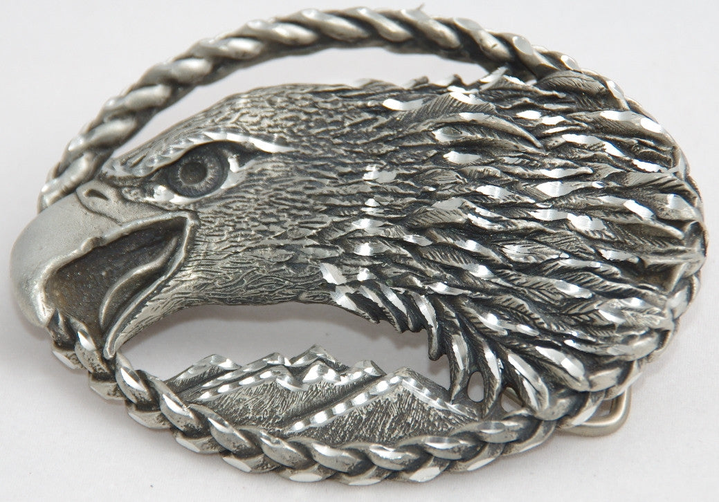 Eagle belt buckle, pewter. Made in USA