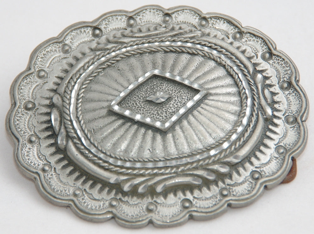 Large conchoe belt buckle, pewter. Made in USA