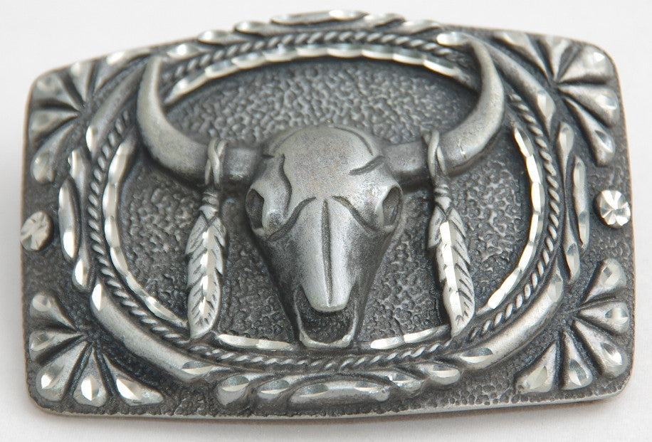 Cow Skull, pewter buckle. Made in USA