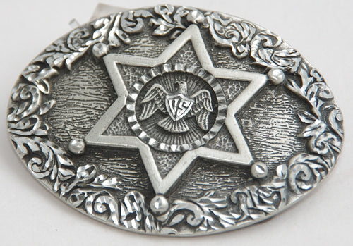 Star belt buckle, pewter. Made in USA