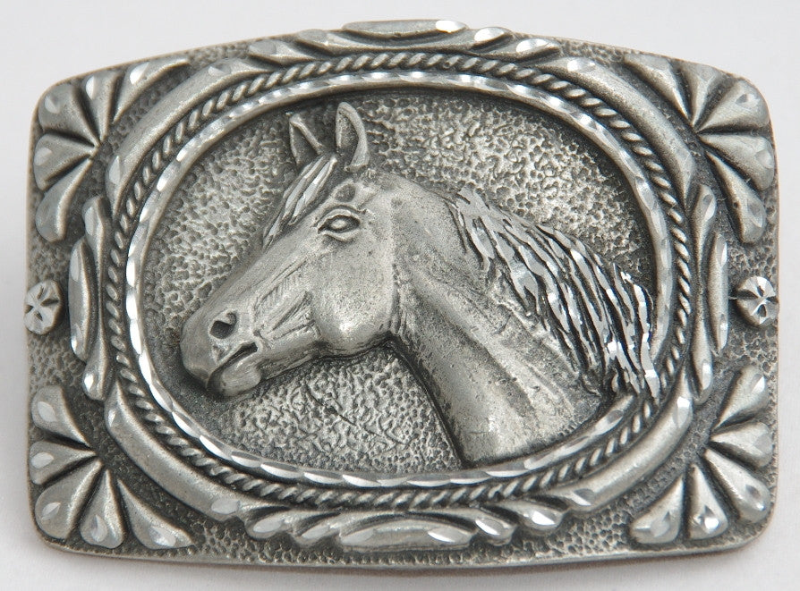 Horse head belt buckle, pewter. Made in USA