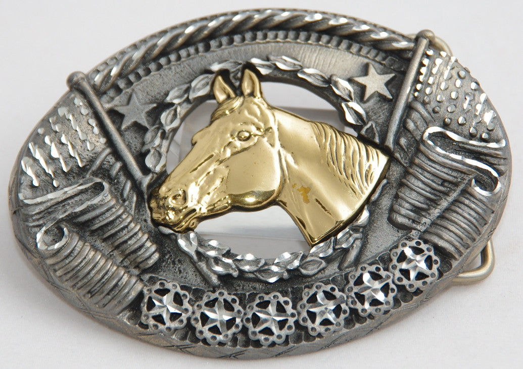 Horse head belt buckle, pewter with brass head. Made in USA