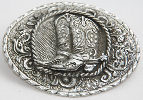 Cowboy boots belt buckle, pewter. Made in USA