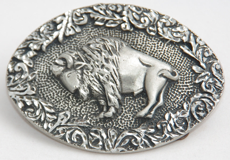 Buffalo belt buckle, pewter. Made in USA