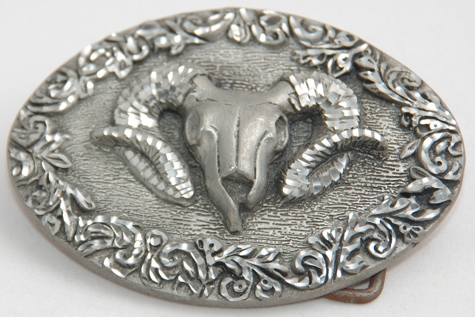 Rams Head belt buckle, pewter. Made in USA