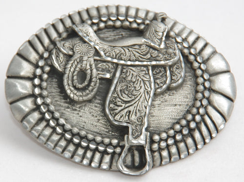 Saddle belt buckle, pewter. Made in USA