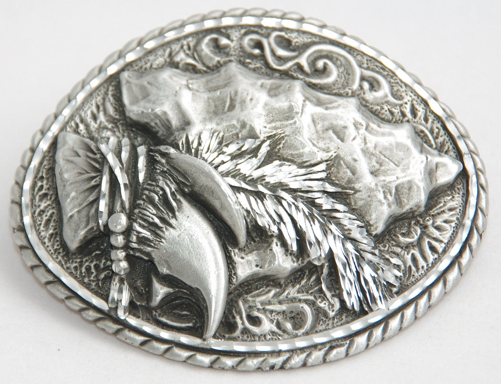 Arrow head belt buckle, pewter. Made in USA