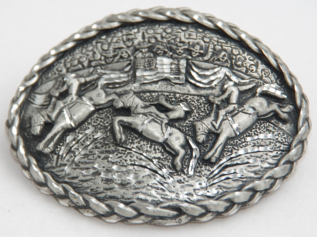 Rodeo belt buckle, pewter. Made in USA