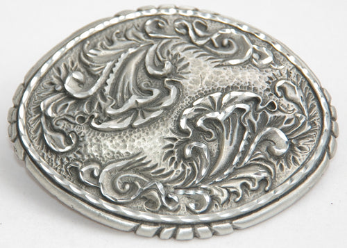 Carved Flower belt buckle, pewter. Made in USA