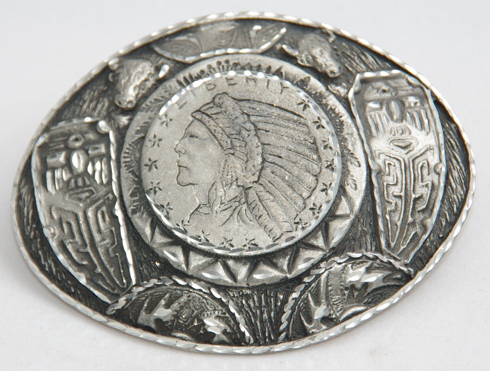 Indian Head Coin belt buckle, pewter. Made in USA