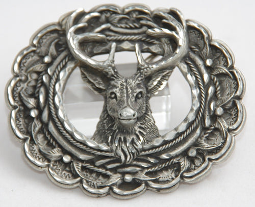 Stagg Head belt buckle, pewter. Made in USA