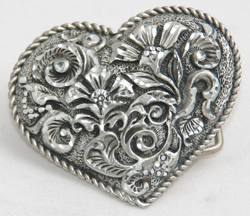 Ladies Floral Heart belt buckle, pewter. Made in USA