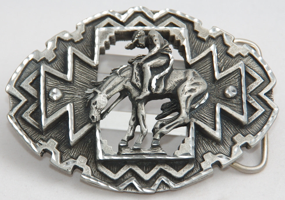 End of Trail belt buckle, pewter. Made in USA